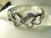 **925 Sterling Silver CZ Diamond Infinity Heart Ring (Size: 6)** in Conroe, Texas