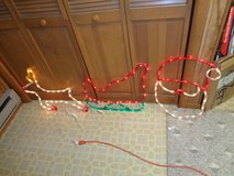 Santa Claus-Sleigh-Reindeer 3 pc Display Lights Set In/Outdoor in Algonquin, Illinois