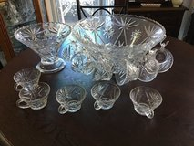 Vintage Heavy crystal PUNCH BOWL WITH CUPS in Fairfield, California