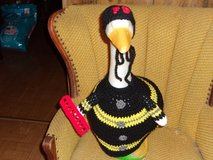 Fireman Geese Goose Outfit Crochet Outdoor and Garden Statue Decor in Belleville, Illinois
