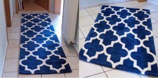 2 Moroccan Trellis Rugs with Geometric Diamond Circle Pattern in Royal Blue in Spangdahlem, Germany