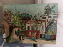Maurice Utrillo (Montmartre} Paris street scene color vintage lithograph unframed in Travis AFB, California