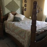OAK BED (QUEEN) + 2 ANTIQUE DRESSERS...MOVING in Oswego, Illinois