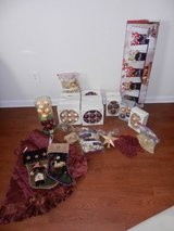 Lots of Christmas Tree Decor (Gold and Maroon!!!! in Camp Lejeune, North Carolina
