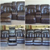Brown Leather Reclinable Sofa Set in Fort Bragg, North Carolina