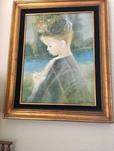 Framed signed Canvas Oil  Painting of a Girl in Travis AFB, California