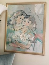 Framed canvas signed Oil Painting of Mother &  Daughter in Travis AFB, California