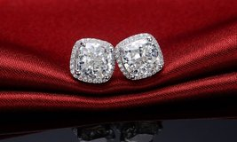 **BRAND NEW***BEAUTIFUL 3 1/2 CT's CUSHION CUT Earrings*** in Cleveland, Texas