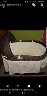 Land of nod bassinet w stand and bedding in Naperville, Illinois