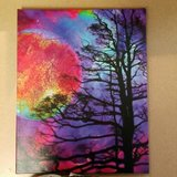 Bare Trees & Moon Canvas Painting in Fort Drum, New York
