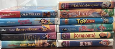 11Disney VHS tapes - Old Yeller Mary Poppins Bambi Toy Story Dumbo Rescuers in Bolingbrook, Illinois