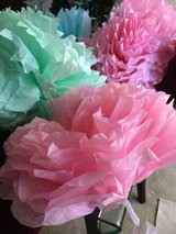 Paper flower decorations in Lockport, Illinois