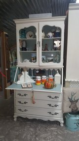 FRENCH PROVINCIAL SECRETARY DRESSER PAINTED IVORY & DUCK EGG in Baytown, Texas