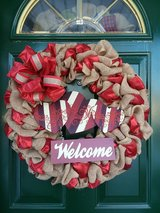 Extra Large Burlap Welcome Valentine's Day Wreath in Plainfield, Illinois