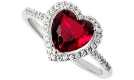***BRAND NEW***RED Heart Cut Halo Ring***SZ in Cleveland, Texas