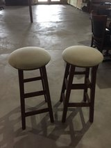 2tan and oak wood Swivel bar stools in Westmont, Illinois