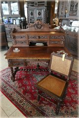 superb antique desk with ornate carvings in Spangdahlem, Germany