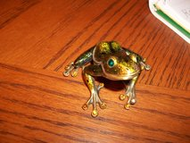 BRASS FROG WITH JEWELED EYES AND TOES in Perry, Georgia