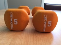 New Set of REEBOK 5LB Neoprene Coated Dumbbells for Non-Slip Grip in Schaumburg, Illinois