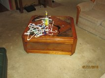 Coffee Table, All wood with partial glass top in Fort Rucker, Alabama
