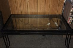 Metal/iron glass top coffee table in Fort Polk, Louisiana