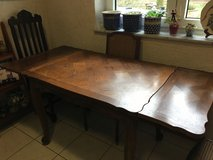 French Antique pull out table + 4 chairs (sets of 2 -different from each other but go with table) in Ramstein, Germany