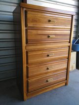 Height top dresser with 5 drawers wood made in Fort Bliss, Texas