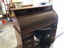 Solid Wood Roll Top Desk With Office Chair in Leesville, Louisiana