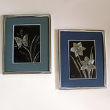 "(2) ""EK"" SILVER FOIL WALL ART: BUTTERFLY, DAFFODILS 8x10 in Oswego, Illinois"