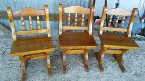 Heavy Wood Dining Chairs Set of 3 in Leesville, Louisiana