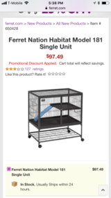 Two tier rat/ferret cage + accessories in Plainfield, Illinois