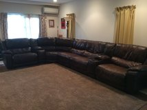 Brown Leather Reclining Sectional in Okinawa, Japan