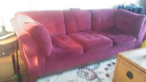 Red couch in Aurora, Illinois