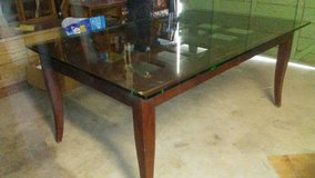 solid wood table with glass top in Yucca Valley, California