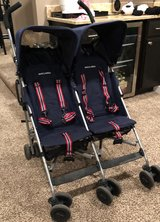 Maclaren double twin stroller with travel bag in Oswego, Illinois