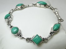 Sterling Silver & Malachite Gemstone Bracelet in League City, Texas