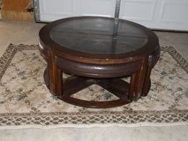 cocktail round glass coffee table in Yucca Valley, California