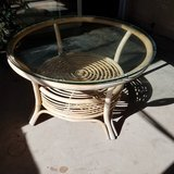 Cool vintage rattan table in Yucca Valley, California