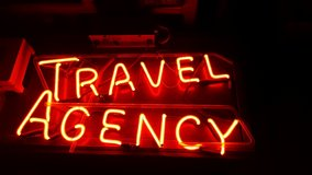 "Neon Sign ""Travel Agency"" in Fort Knox, Kentucky"