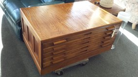 Oak coffee table 5 map drawers in Oswego, Illinois