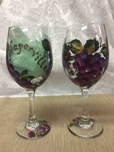 "Hand Painted Wine Glasses, ""Naperville"" Themed in St. Charles, Illinois"