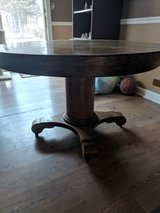 antique wood dining room table in Oswego, Illinois