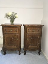 set of 2 antique solid wood sidetables nightstands from France in Ramstein, Germany