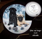 CERAMIC COLLECTABLE PUG PLATE WITH HANGER in Fort Benning, Georgia
