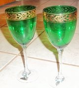 """Two green and gold cocktail glasses 9"""" tall in Alamogordo, New Mexico"""