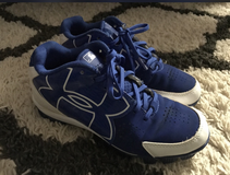 Blue underarmour baseball cleats size 4.5y in Fort Benning, Georgia