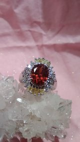 Morganite White Topaz and Garnet Ring 925 Stamped Silver Size 7 in 29 Palms, California