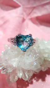 Aquamarine Heart ring size 9 stamped 925 silver in 29 Palms, California