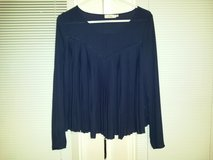 Elodie navy blue sheer pleated blouse size large in Clarksville, Tennessee