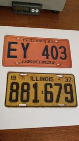 Vintage License Plates 1937..1969 Two in St. Charles, Illinois